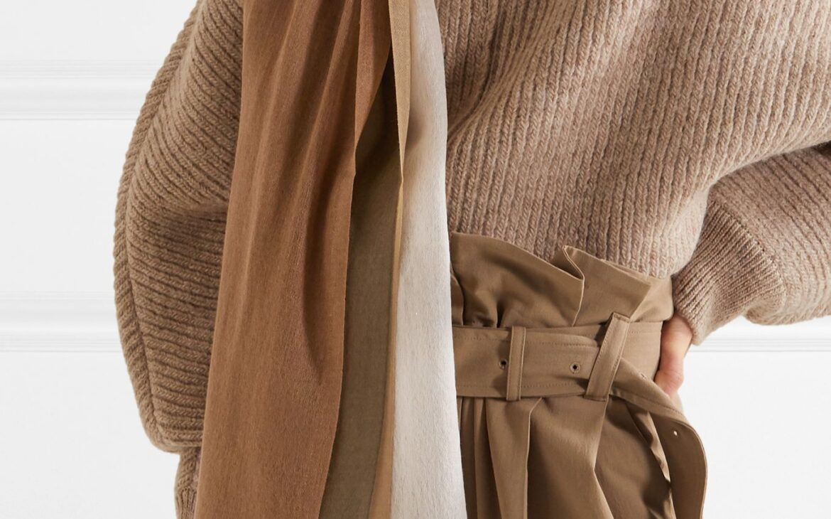 Woman in chic monochrome camel outfit