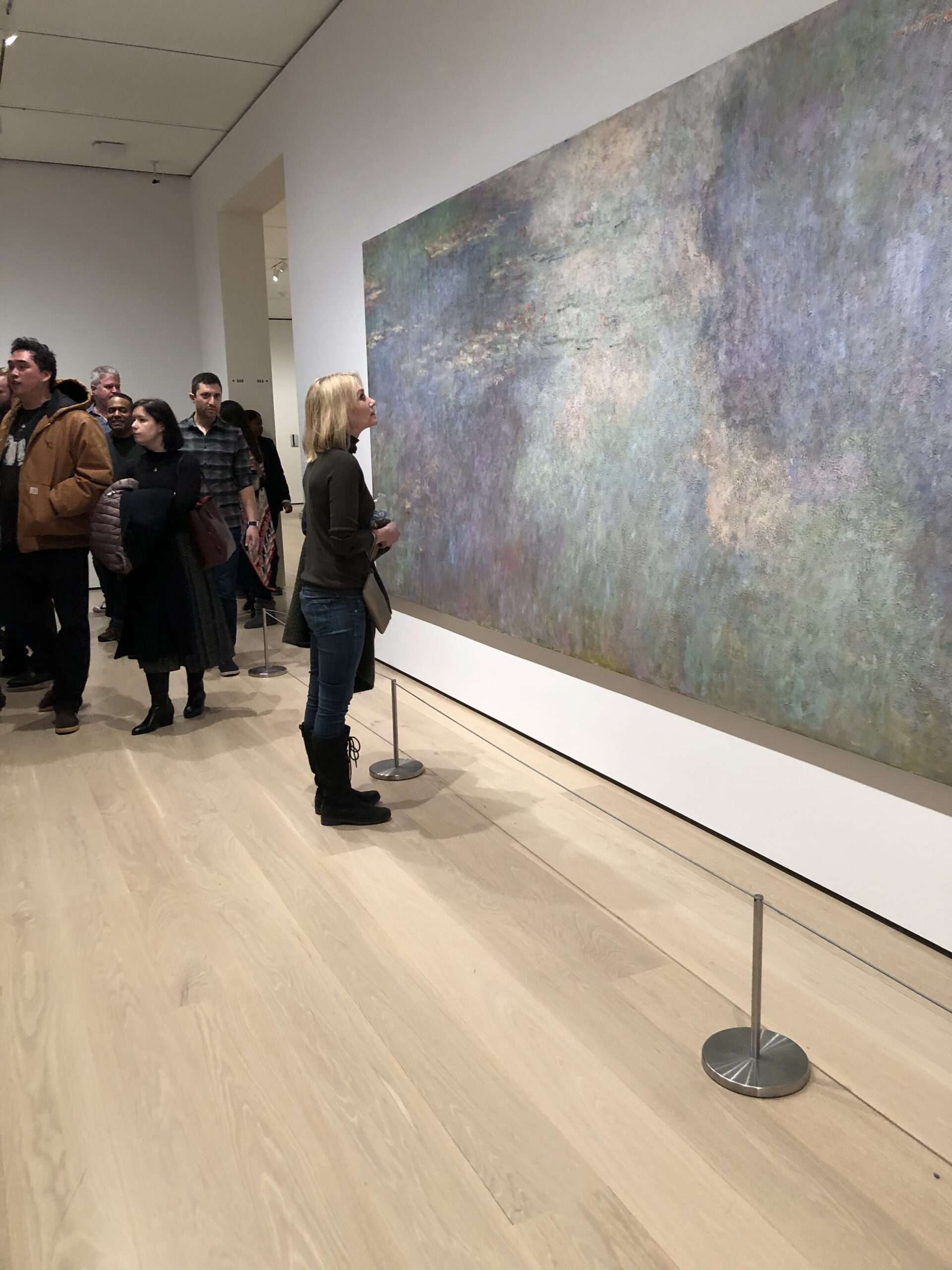 Catherine Hook looking at Waterlilies at MoMA in NYC